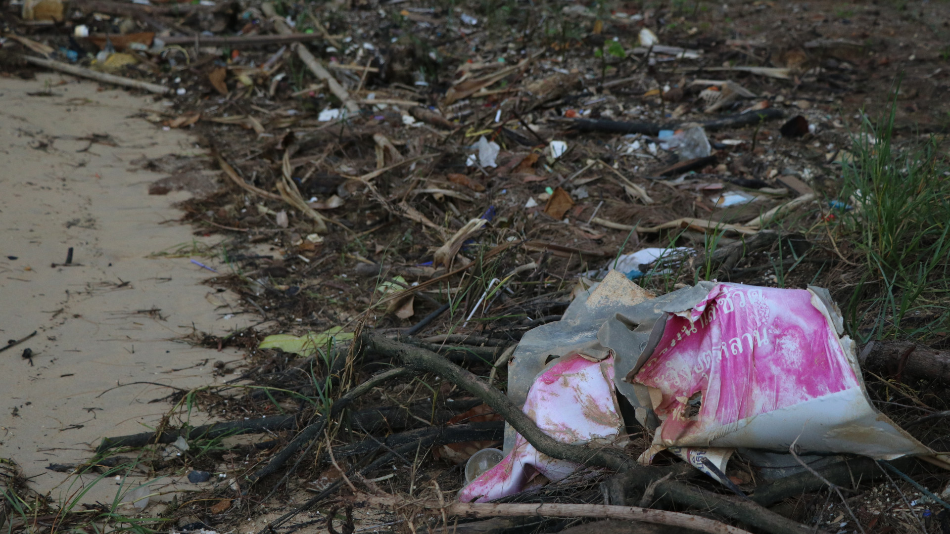thailand beach trash plastic
