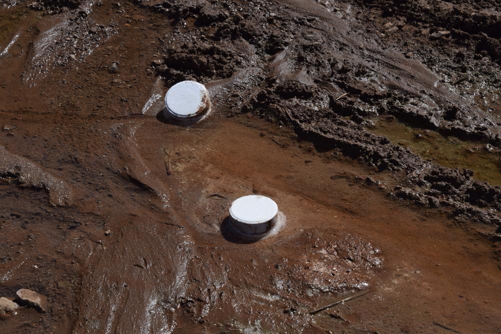 Chlorine tabs in sewage.