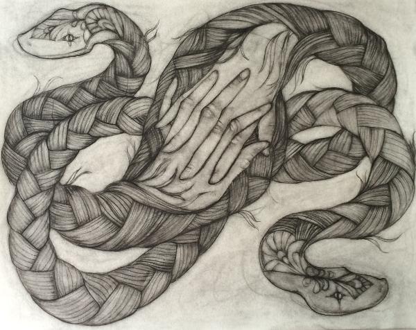 Rachael Rios braided snake hands