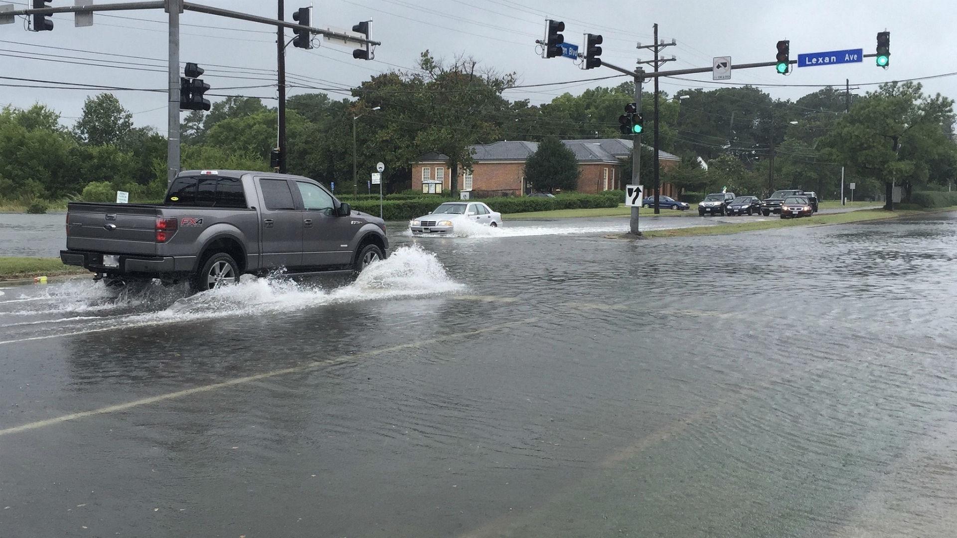 Flooded street in Virginia