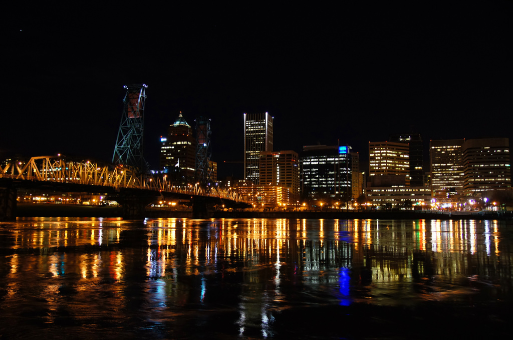 Portland river at night
