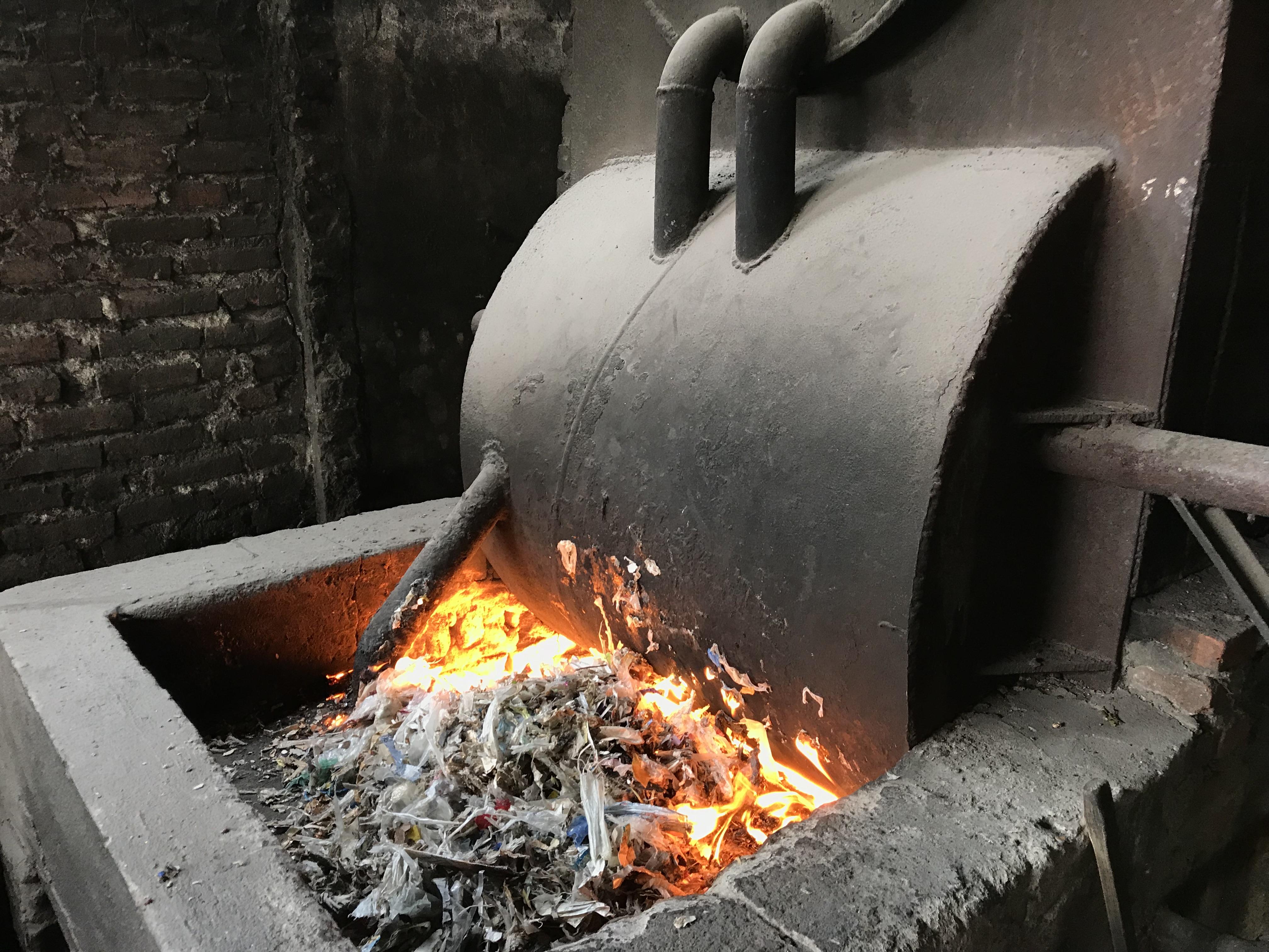 Plastic waste burning