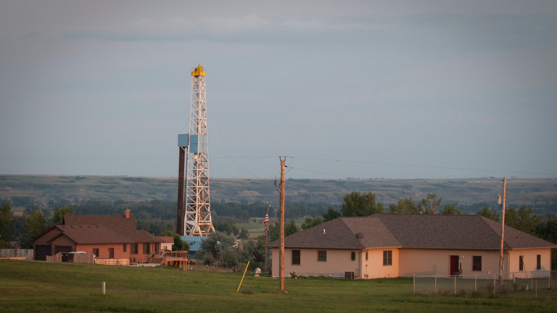 Drilling rig next to homes