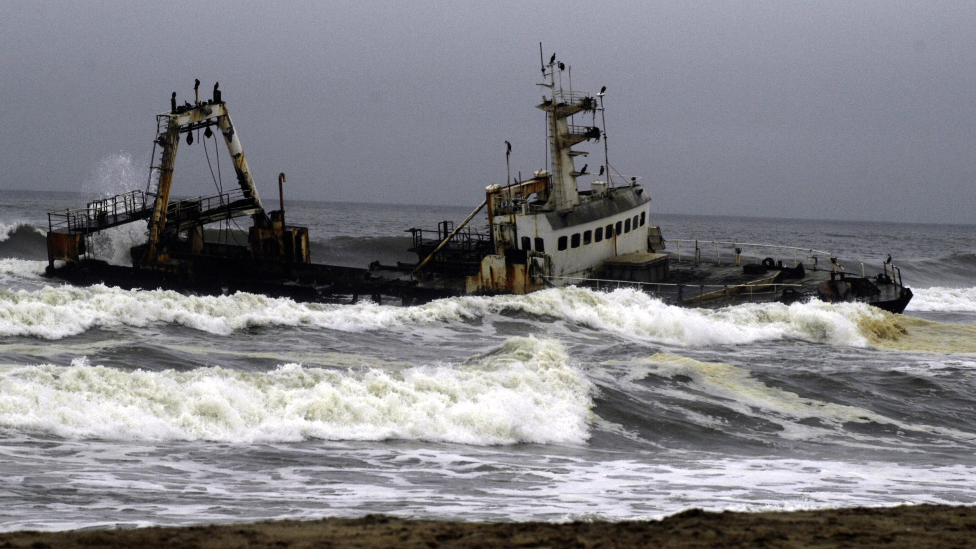 Wrecked fishing trawler
