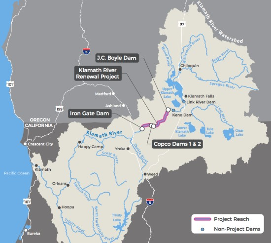 Map of Klamath Basin and dam removal project