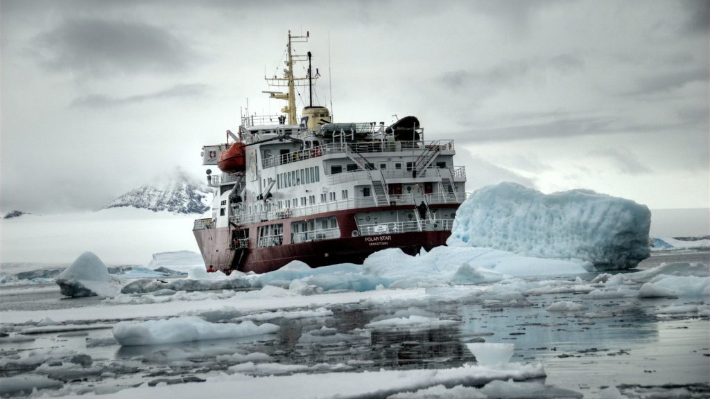 Icebreaker ship in water