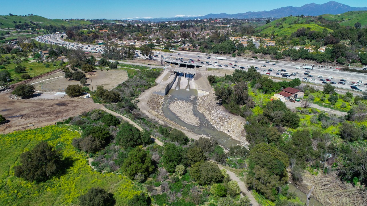 Aerial view of I-5 barrier
