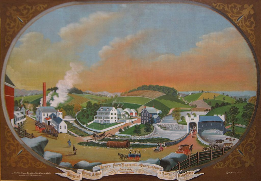 painting of farm, town and mill