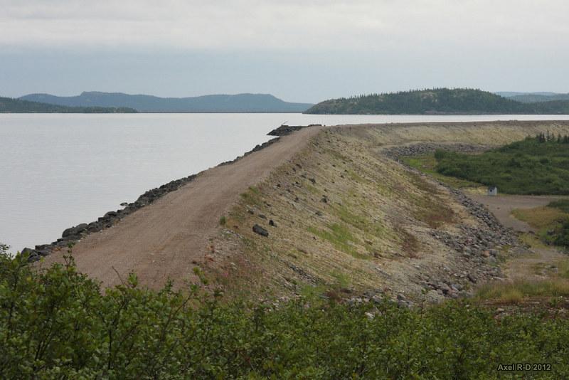 reservoir and earthen bank