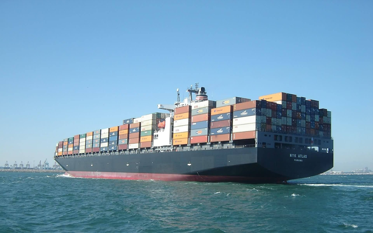 loaded container ship on water