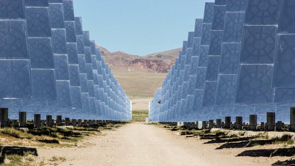line of solar arrays