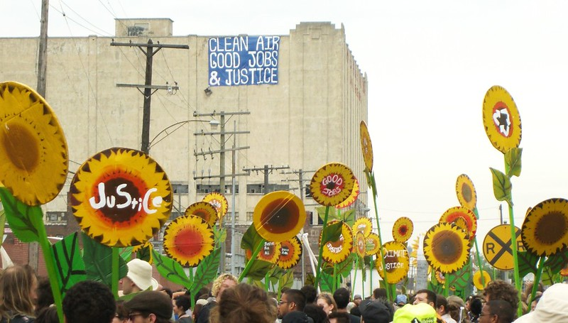 Sunflower signs at a march