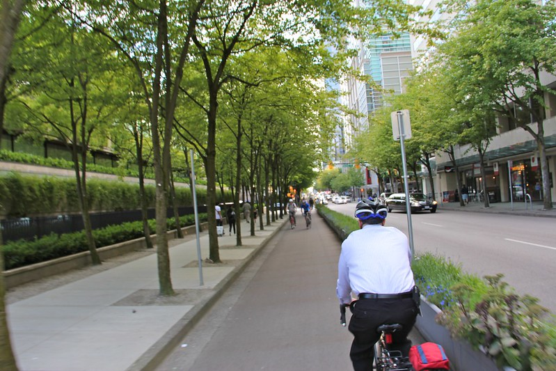 Biker in bike lane