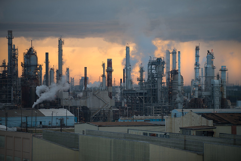 skyline of pollution from plant