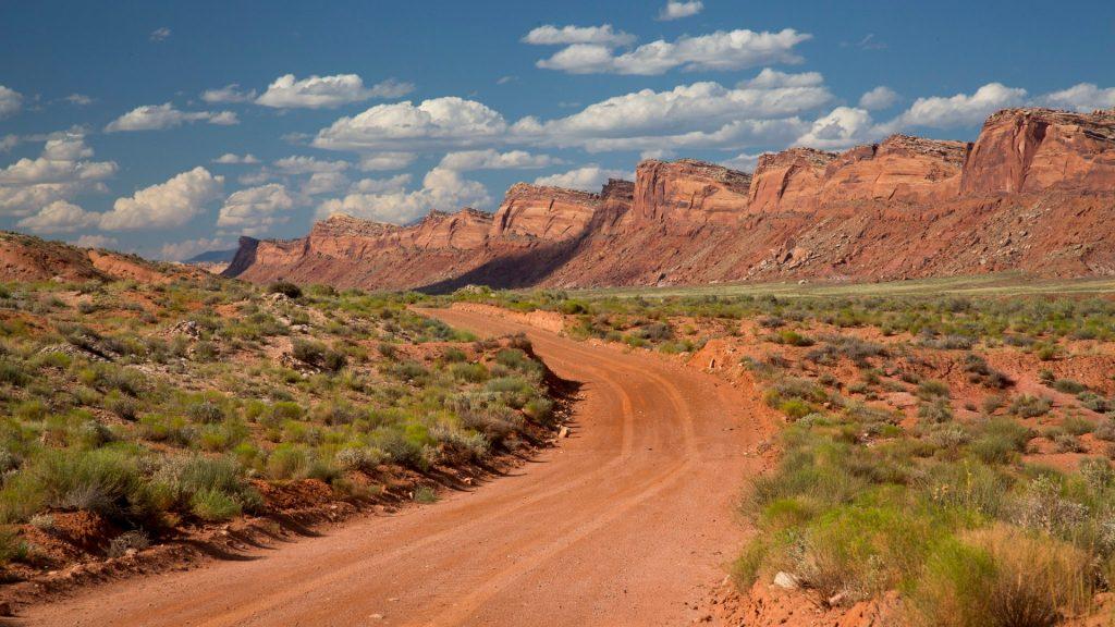 road through red rocks