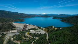 Aerial view of dam and lake
