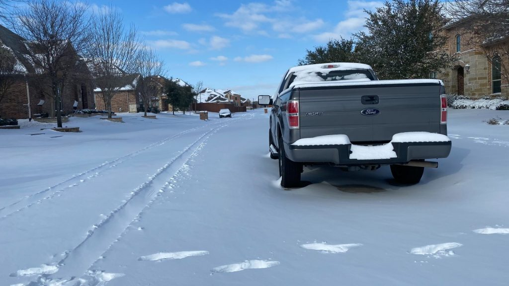 snowy suburban neighborhood