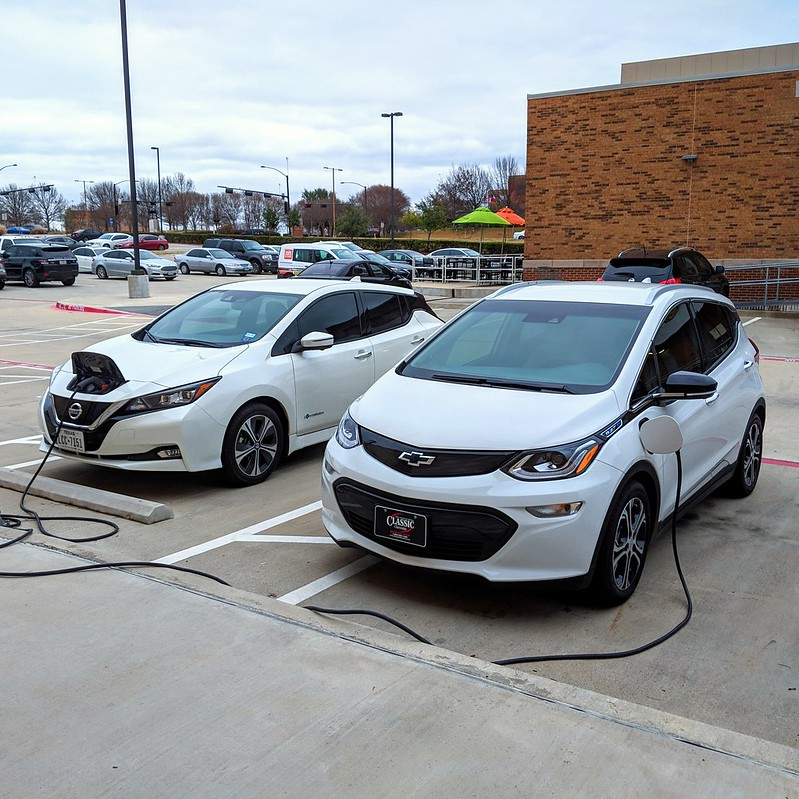 Two EVs charging