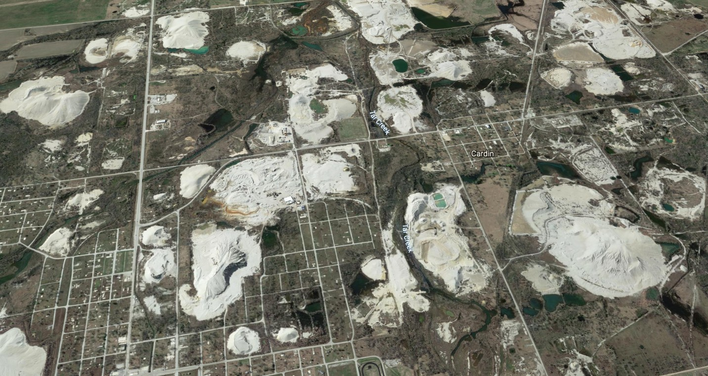 aerial view of mine waste