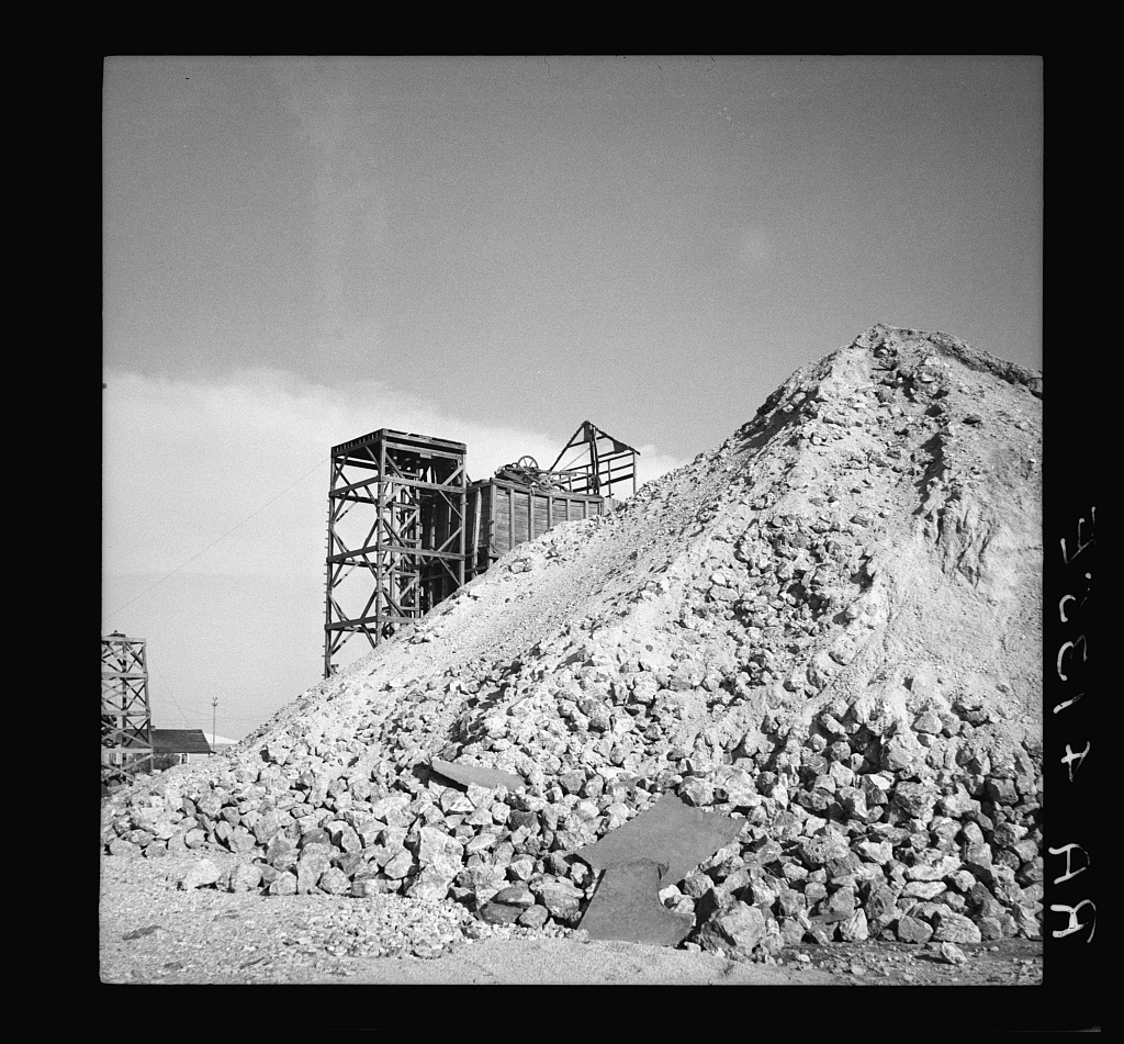 historical photo of mile waste pile