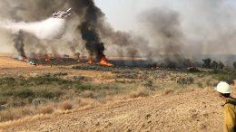 Grassland fire and firefighting effort