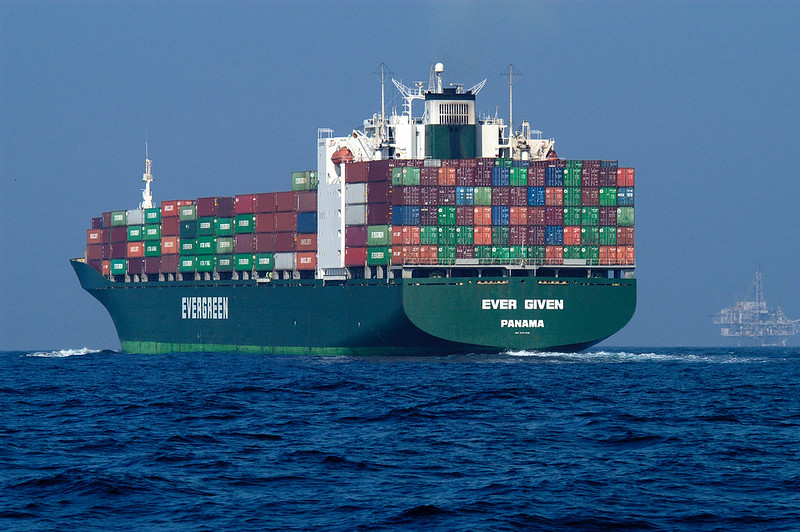 Container ship on the open watern