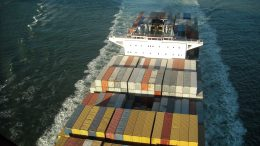 Aerial view of container ship