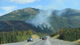 Wildfire burning near road