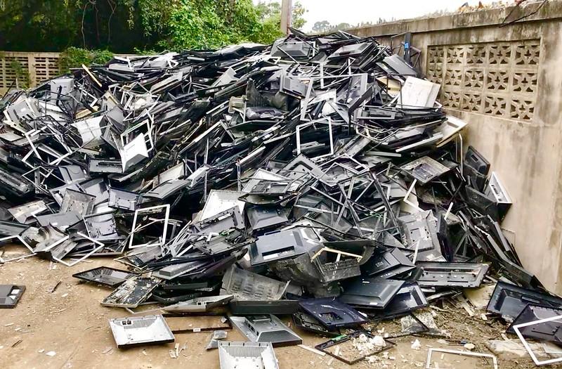scrap heap of monitors
